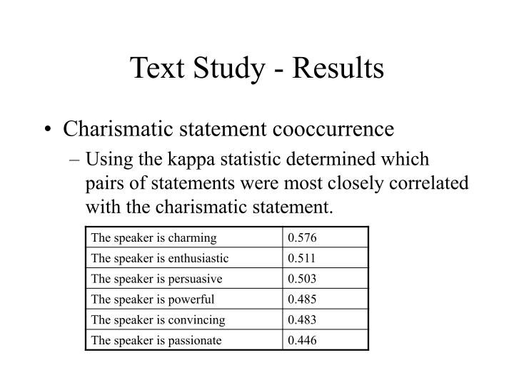 Text Study - Results