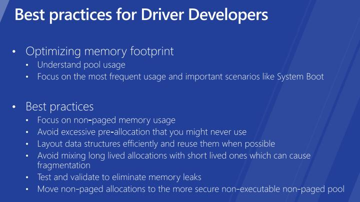Best practices for Driver Developers