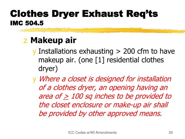 Clothes Dryer Exhaust Req'ts