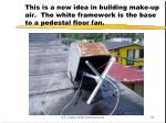 this is a new idea in building make up air the white framework is the base to a pedestal floor fan