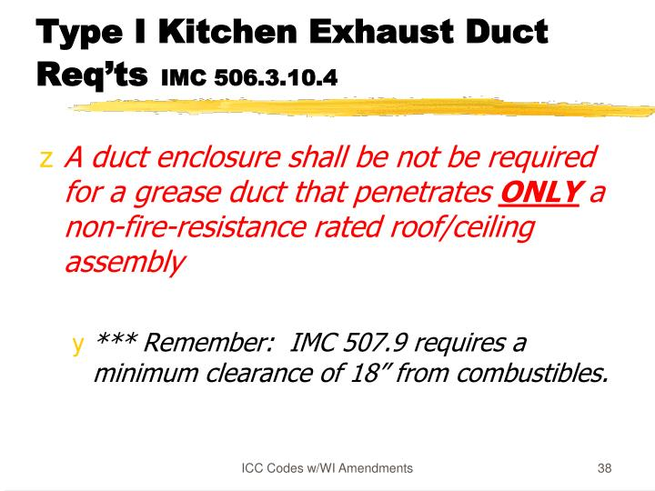 Type I Kitchen Exhaust Duct Req'ts