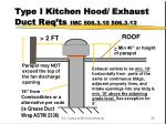 type i kitchen hood exhaust duct req ts imc 506 3 10 506 3 12
