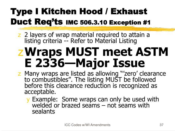 Type I Kitchen Hood / Exhaust
