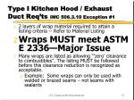 type i kitchen hood exhaust duct req ts imc 506 3 10 exception 1