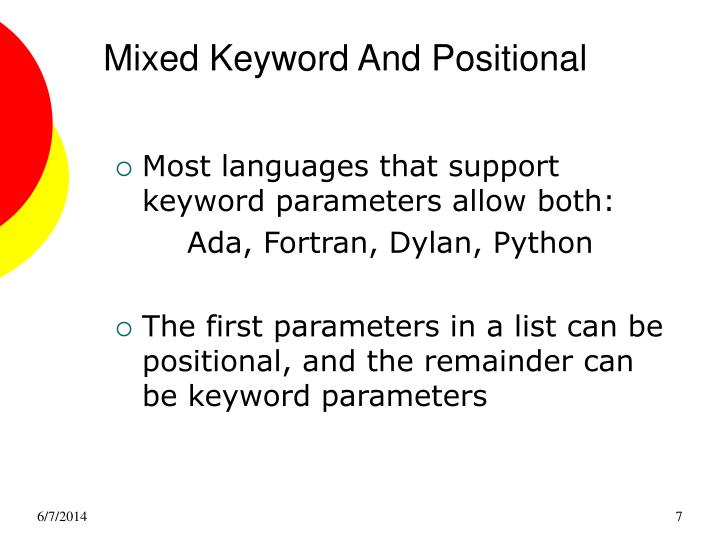 Mixed Keyword And Positional