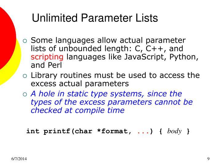 Unlimited Parameter Lists