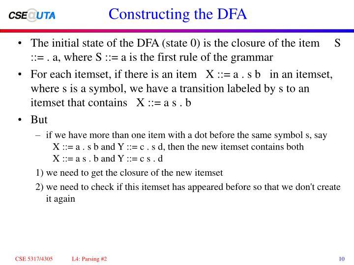 Constructing the DFA