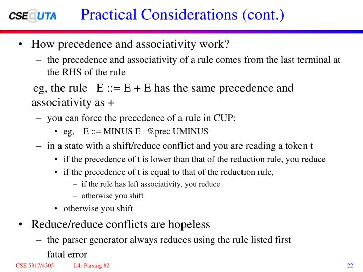 Practical Considerations (cont.)