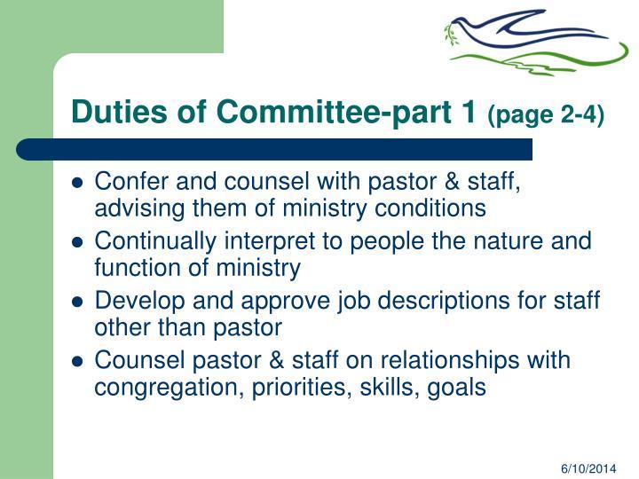 Duties of Committee-part 1