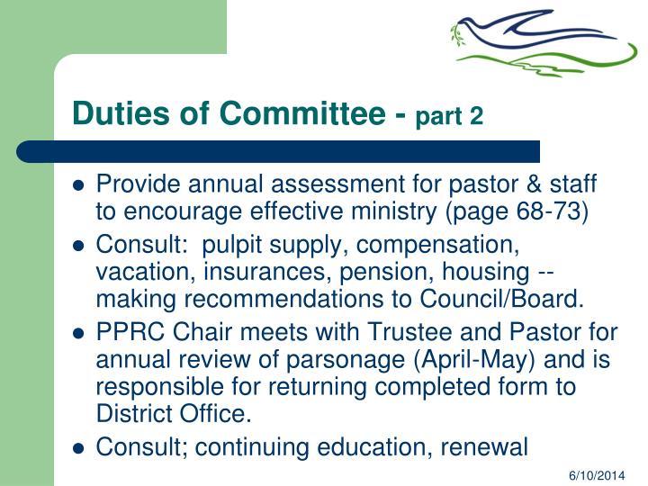 Duties of Committee -