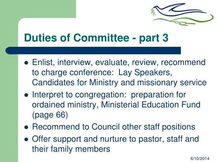 Duties of Committee - part 3