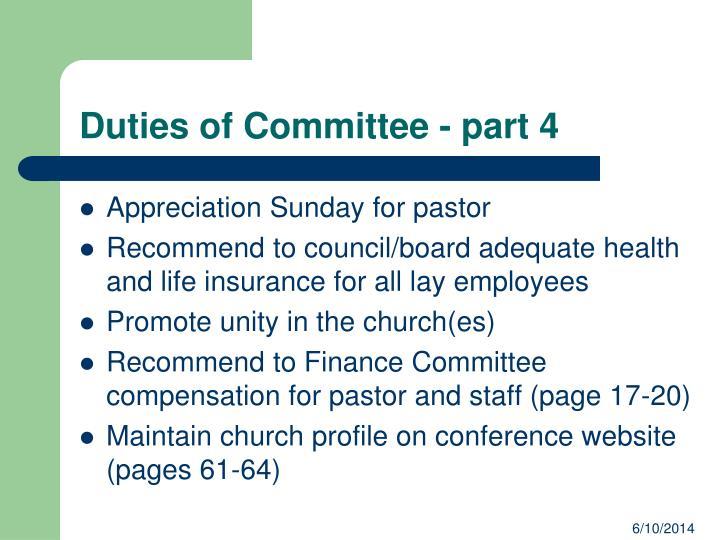 Duties of Committee - part 4