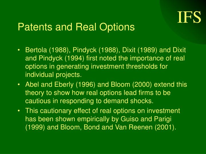 Patents and Real Options