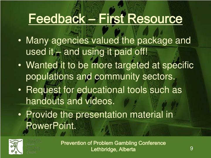 Feedback – First Resource