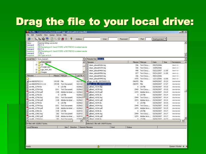Drag the file to your local drive:
