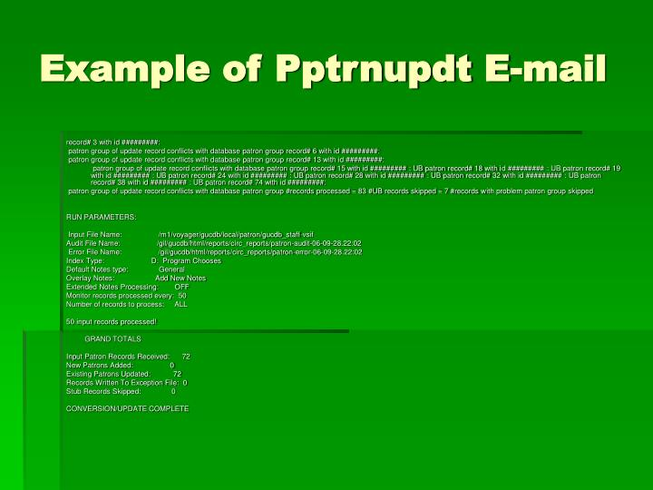 Example of Pptrnupdt E-mail