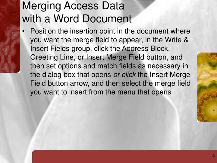 Merging Access Data