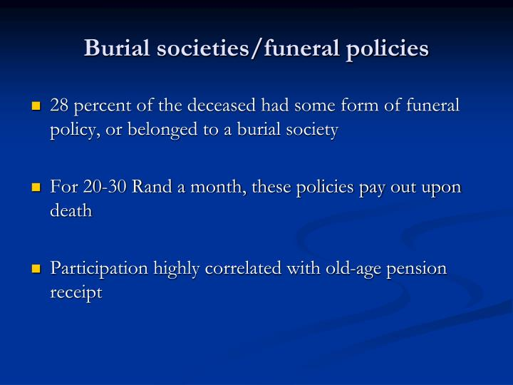 Burial societies/funeral policies