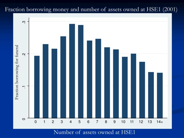 Fraction borrowing money and number of assets owned at HSE1 (2001)