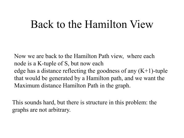 Back to the Hamilton View
