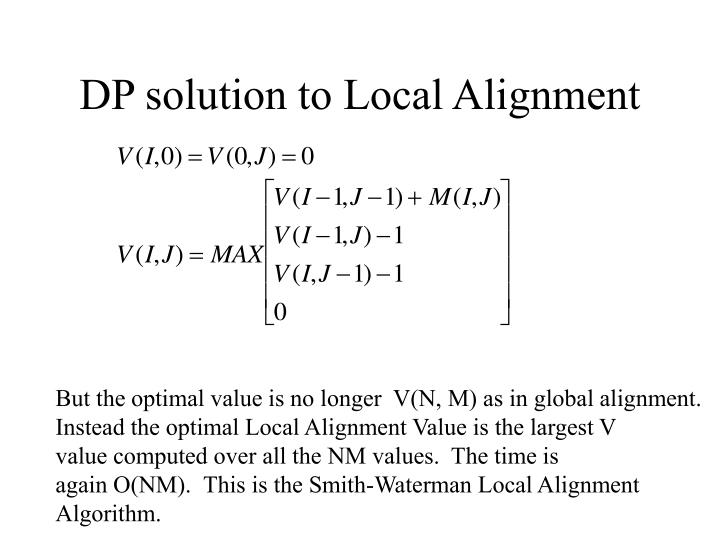 DP solution to Local Alignment