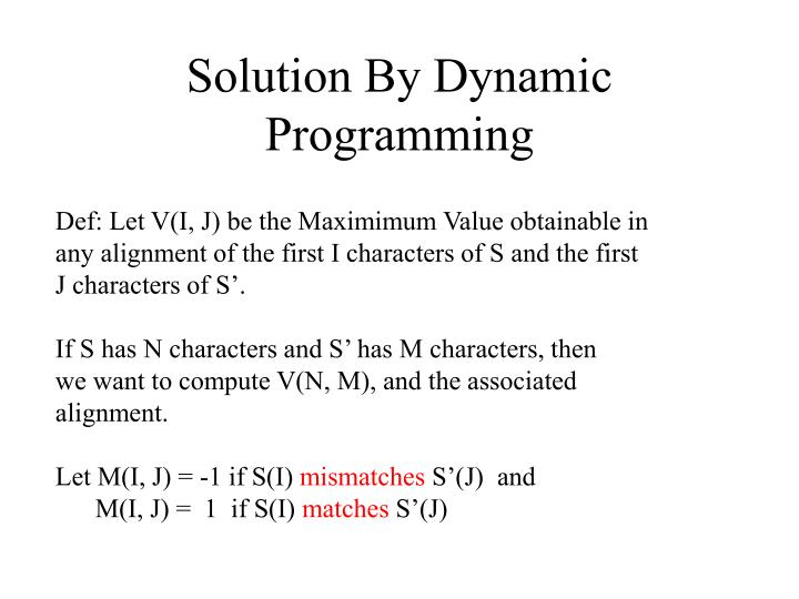 Solution By Dynamic Programming