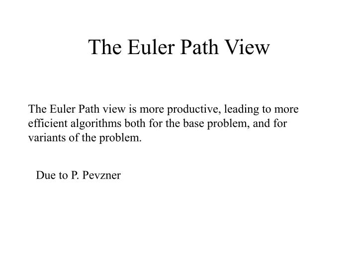 The Euler Path View
