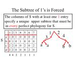 the subtree of 1 s is forced