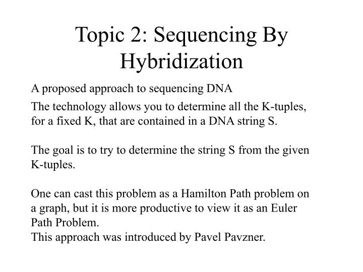 Topic 2: Sequencing By Hybridization
