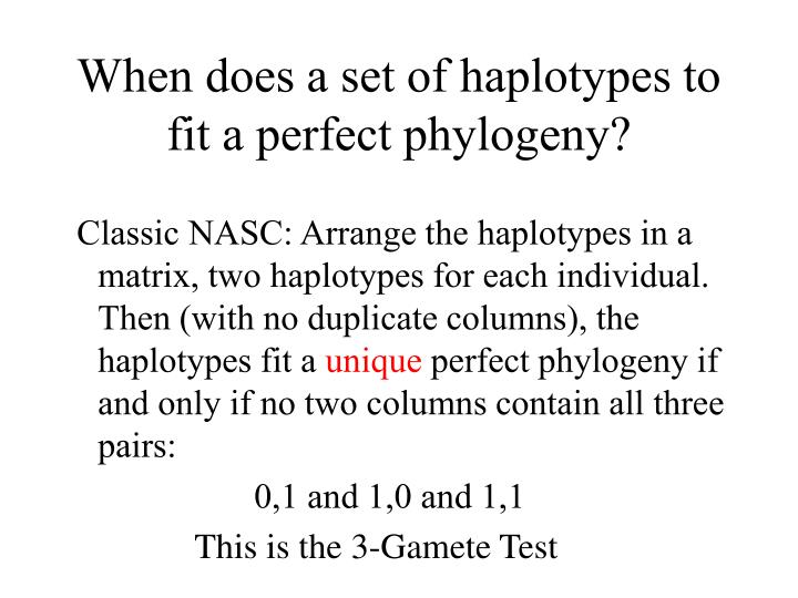 When does a set of haplotypes to fit a perfect phylogeny?