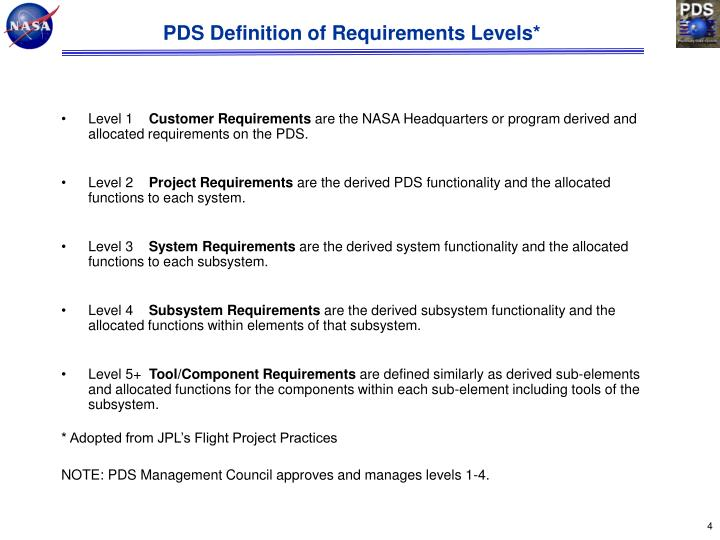 PDS Definition of Requirements Levels*