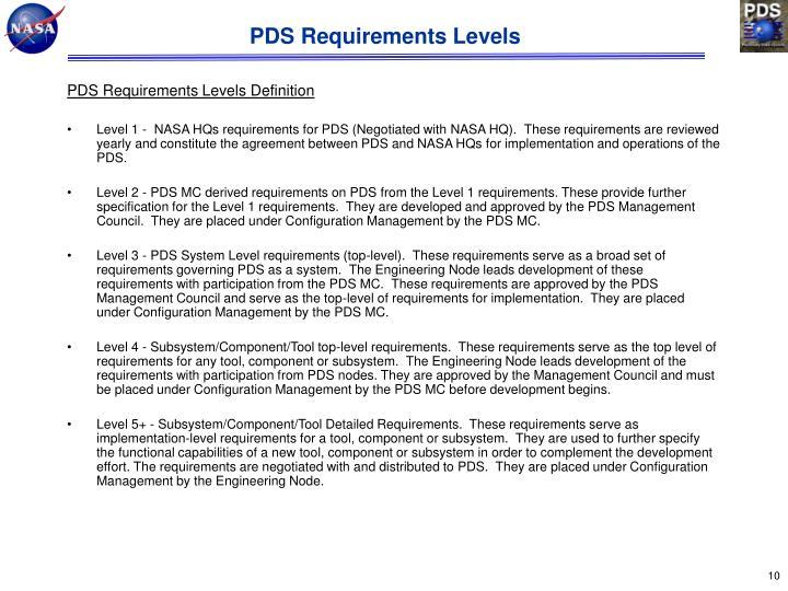 PDS Requirements Levels