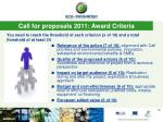 call for proposals 2011 award criteria