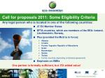 call for proposals 2011 some eligibility criteria