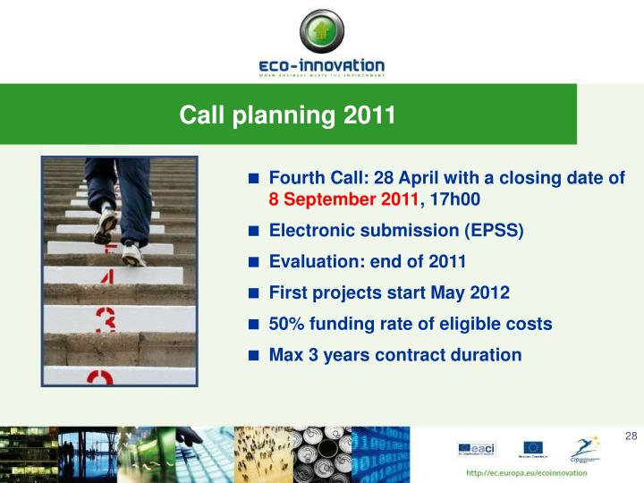 Fourth Call: 28 April with a closing date of
