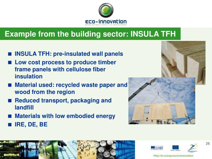 Example from the building sector: INSULA TFH