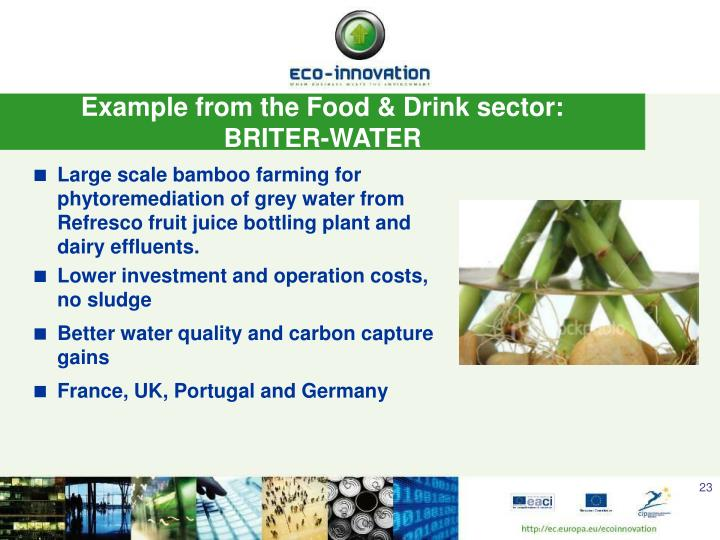 Example from the Food & Drink sector: