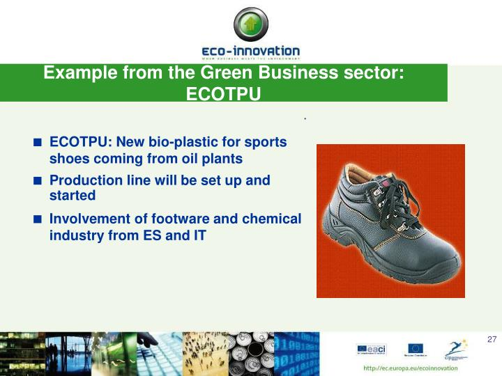 Example from the Green Business sector: ECOTPU