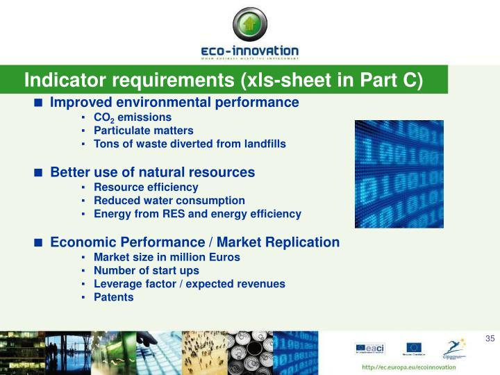 Indicator requirements (xls-sheet in Part C)