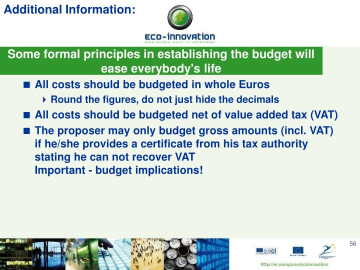 Some formal principles in establishing the budget will ease everybody's life