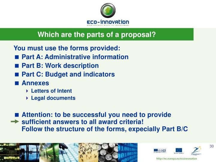Which are the parts of a proposal?