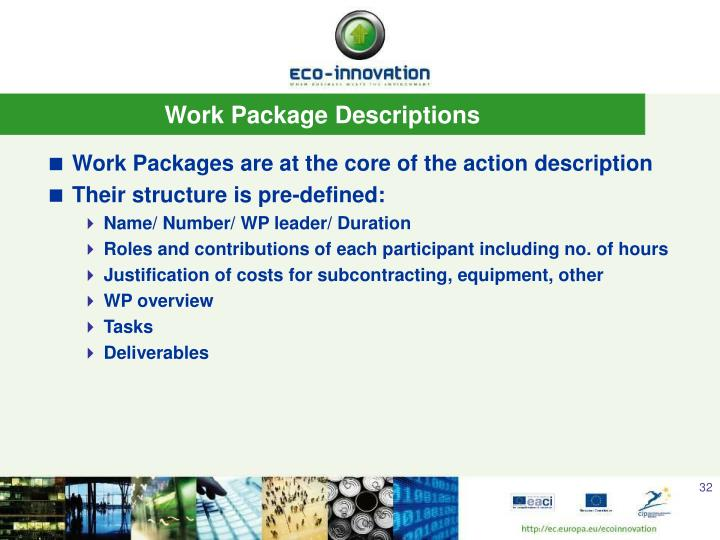 Work Package Descriptions