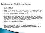 d uties of an aa eo coordinator