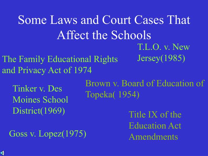 Some Laws and Court Cases That Affect the Schools