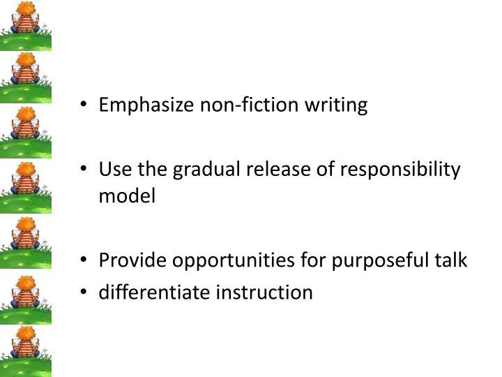 Emphasize non-fiction writing