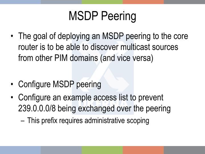 MSDP Peering