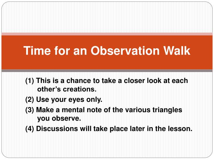 Time for an Observation Walk