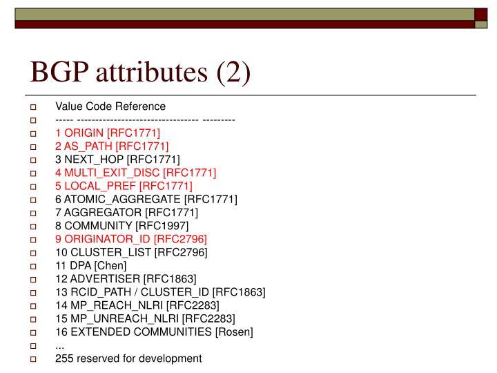 BGP attributes (2)