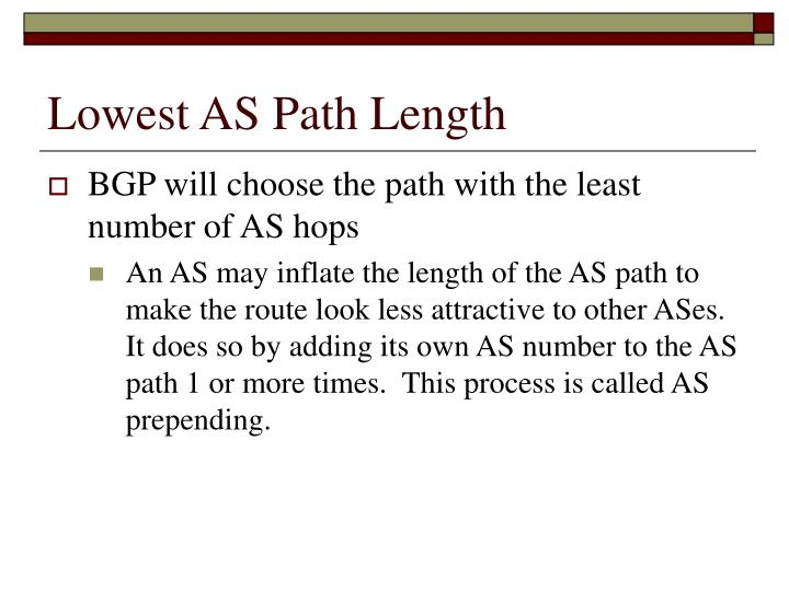 Lowest AS Path Length