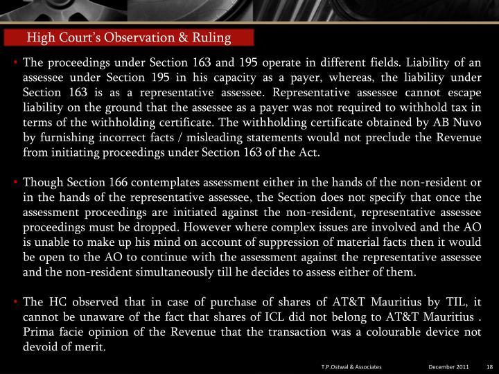 High Court's Observation & Ruling